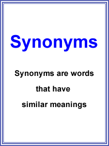 Synonyms worksheets for all grade kids